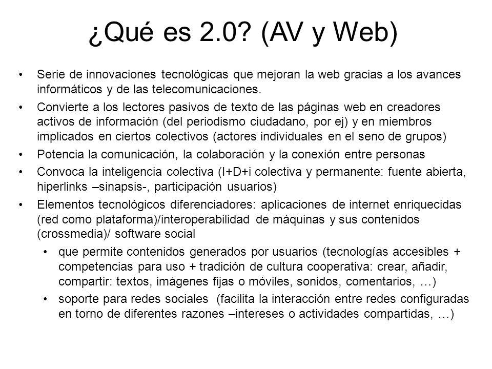 ¿Qué es 2.0? (AV y Web) Serie de innovaciones tecnológicas que mejoran la web gracias a los avances informáticos y de las telecomunicaciones. Conviert
