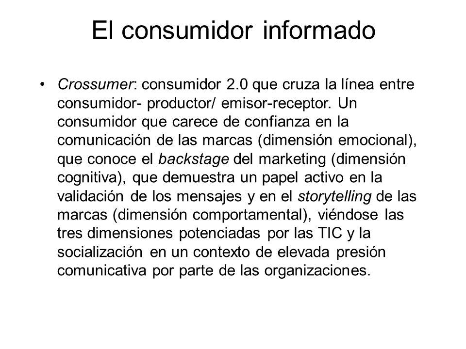 El consumidor informado Crossumer: consumidor 2.0 que cruza la línea entre consumidor- productor/ emisor-receptor.