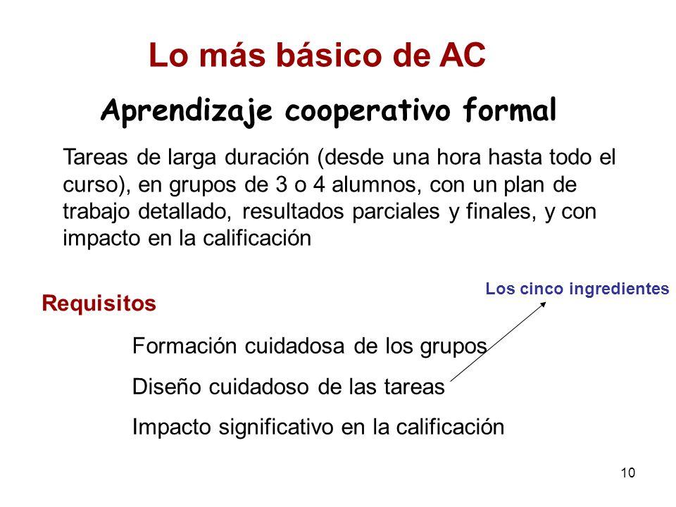 10 Aprendizaje cooperativo formal Tareas de larga duración (desde una hora hasta todo el curso), en grupos de 3 o 4 alumnos, con un plan de trabajo de