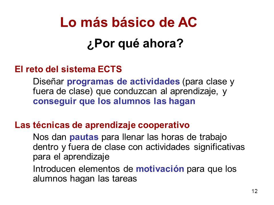 12 ¿Por qué ahora? El reto del sistema ECTS Diseñar programas de actividades (para clase y fuera de clase) que conduzcan al aprendizaje, y conseguir q