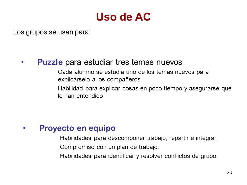 20 Uso de AC Los grupos se usan para: Puzzle para estudiar tres temas nuevos Cada alumno se estudia uno de los temas nuevos para explicárselo a los co