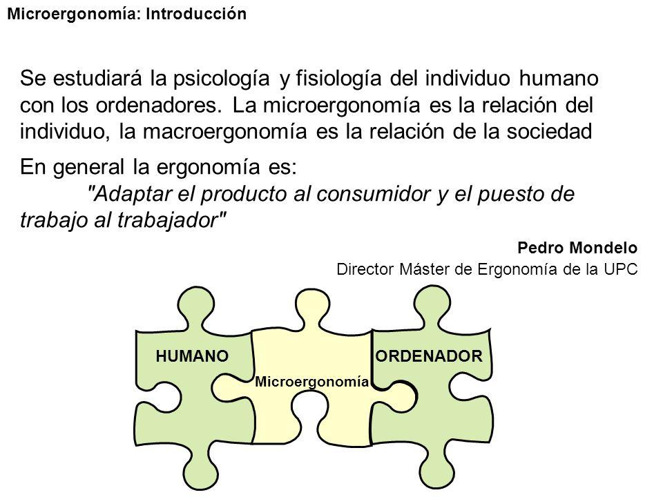 Microergonomía: Introducción Se estudiará la psicología y fisiología del individuo humano con los ordenadores.