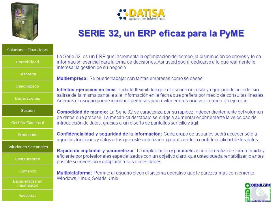 La Serie 32, es un ERP que incrementa la optimización del tiempo, la disminución de errores y le da información esencial para la toma de decisiones.