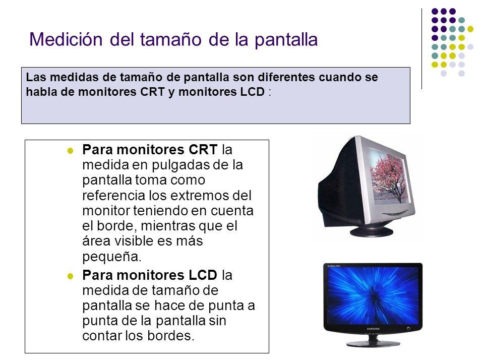 Medición del tamaño de la pantalla Para monitores CRT la medida en pulgadas de la pantalla toma como referencia los extremos del monitor teniendo en cuenta el borde, mientras que el área visible es más pequeña.