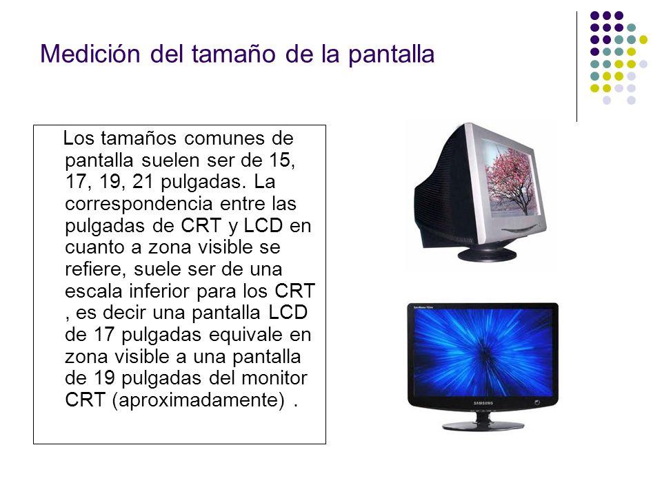 Medición del tamaño de la pantalla Los tamaños comunes de pantalla suelen ser de 15, 17, 19, 21 pulgadas.