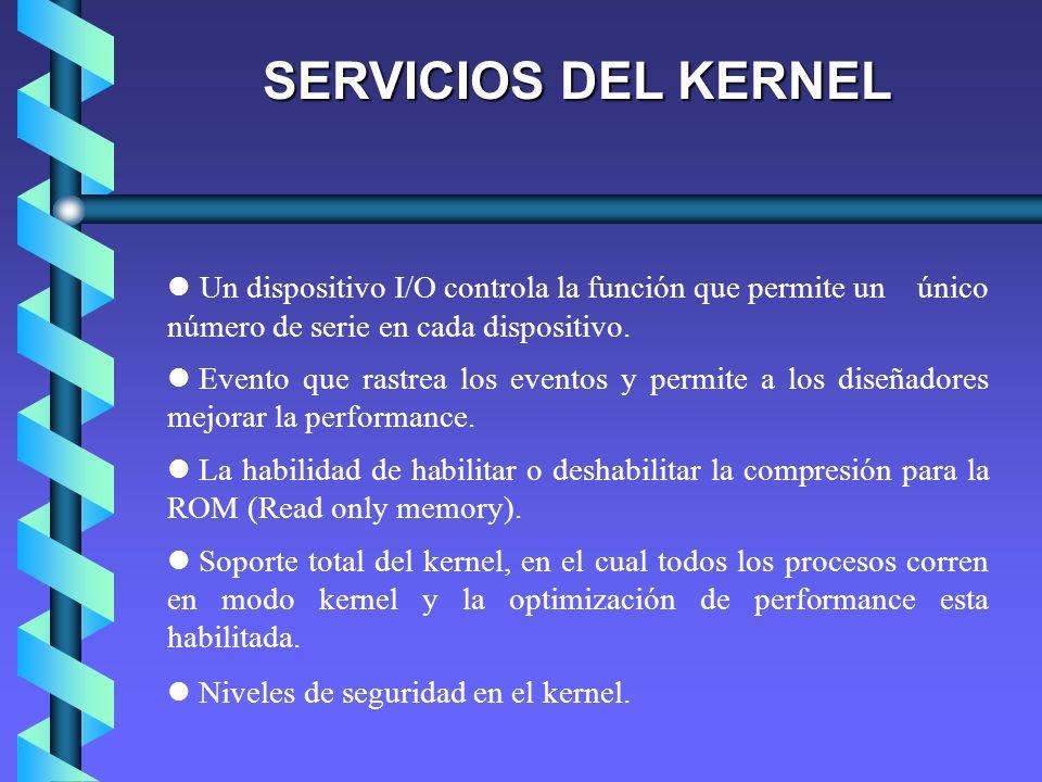 SERVICIOS DEL KERNEL Un dispositivo I/O controla la función que permite un único número de serie en cada dispositivo. Evento que rastrea los eventos y