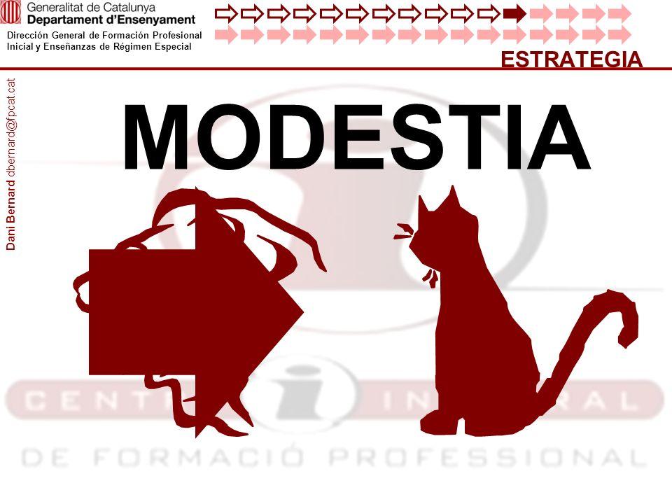 Dirección General de Formación Profesional Inicial y Enseñanzas de Régimen Especial ESTRATEGIA MODESTIA Dani Bernard dbernard@fpcat.cat