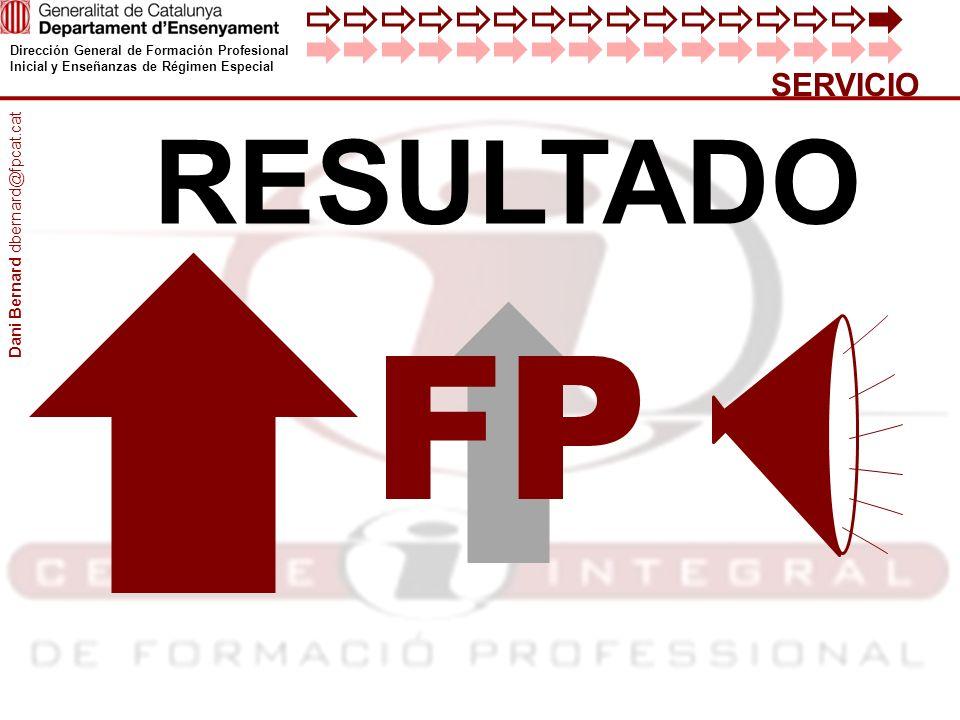 Dirección General de Formación Profesional Inicial y Enseñanzas de Régimen Especial SERVICIO RESULTADO FP Dani Bernard dbernard@fpcat.cat