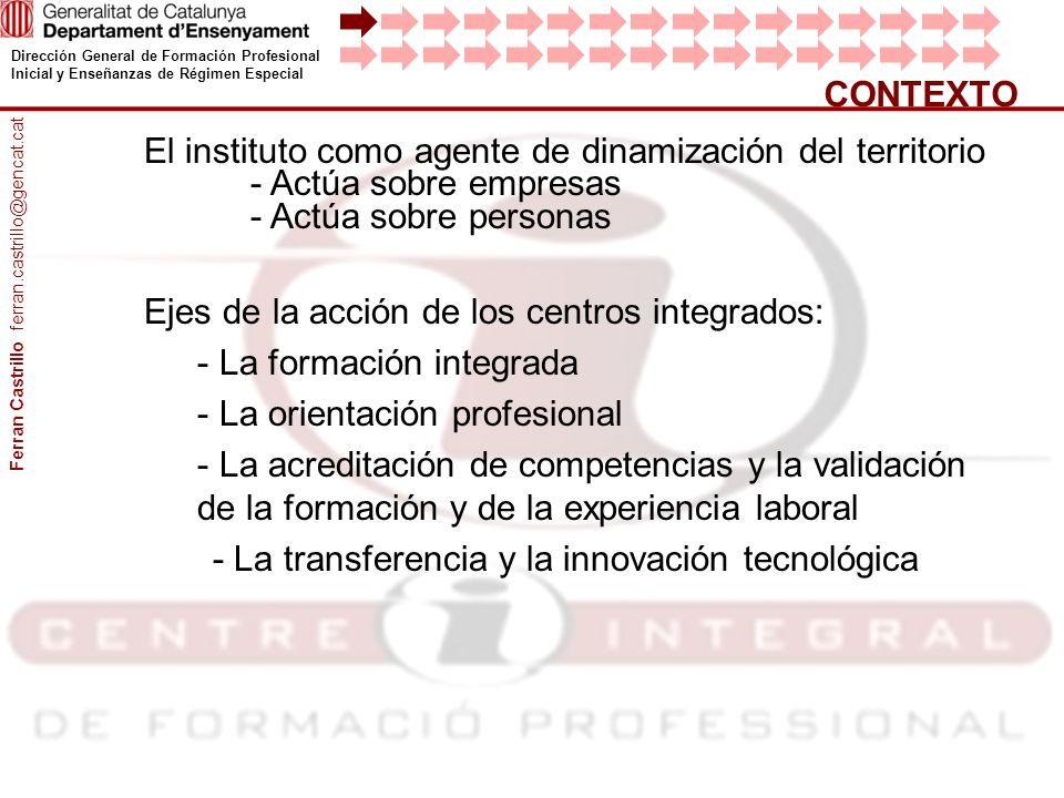 Dirección General de Formación Profesional Inicial y Enseñanzas de Régimen Especial CONTEXTO El instituto como agente de dinamización del territorio -