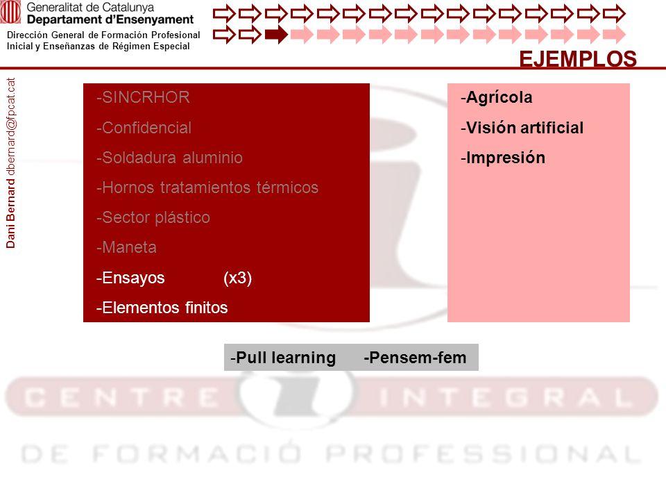 Dirección General de Formación Profesional Inicial y Enseñanzas de Régimen Especial EJEMPLOS -Agrícola -Visión artificial -Impresión -SINCRHOR -Confid