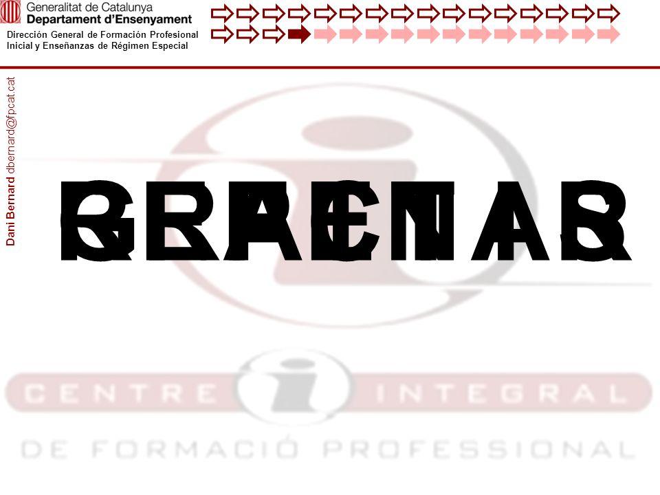 Dirección General de Formación Profesional Inicial y Enseñanzas de Régimen Especial RAICAREPTEIGSRFNI Dani Bernard dbernard@fpcat.cat