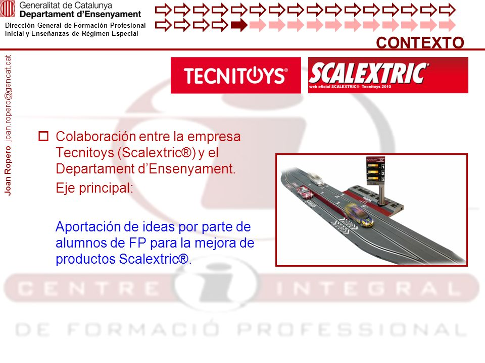 Dirección General de Formación Profesional Inicial y Enseñanzas de Régimen Especial Colaboración entre la empresa Tecnitoys (Scalextric®) y el Departament dEnsenyament.