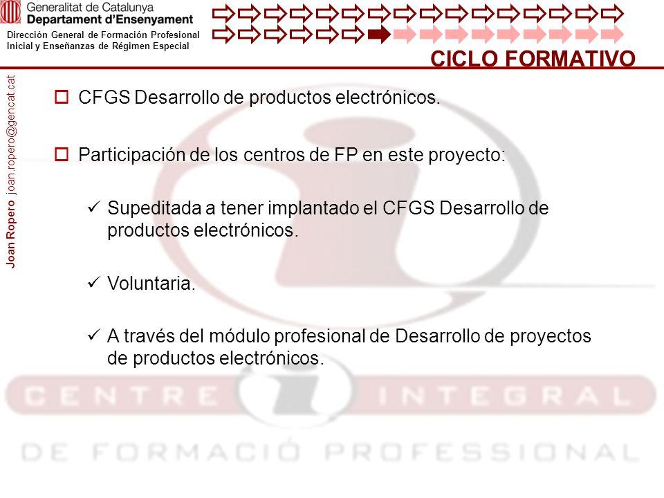 Dirección General de Formación Profesional Inicial y Enseñanzas de Régimen Especial CICLO FORMATIVO CFGS Desarrollo de productos electrónicos.