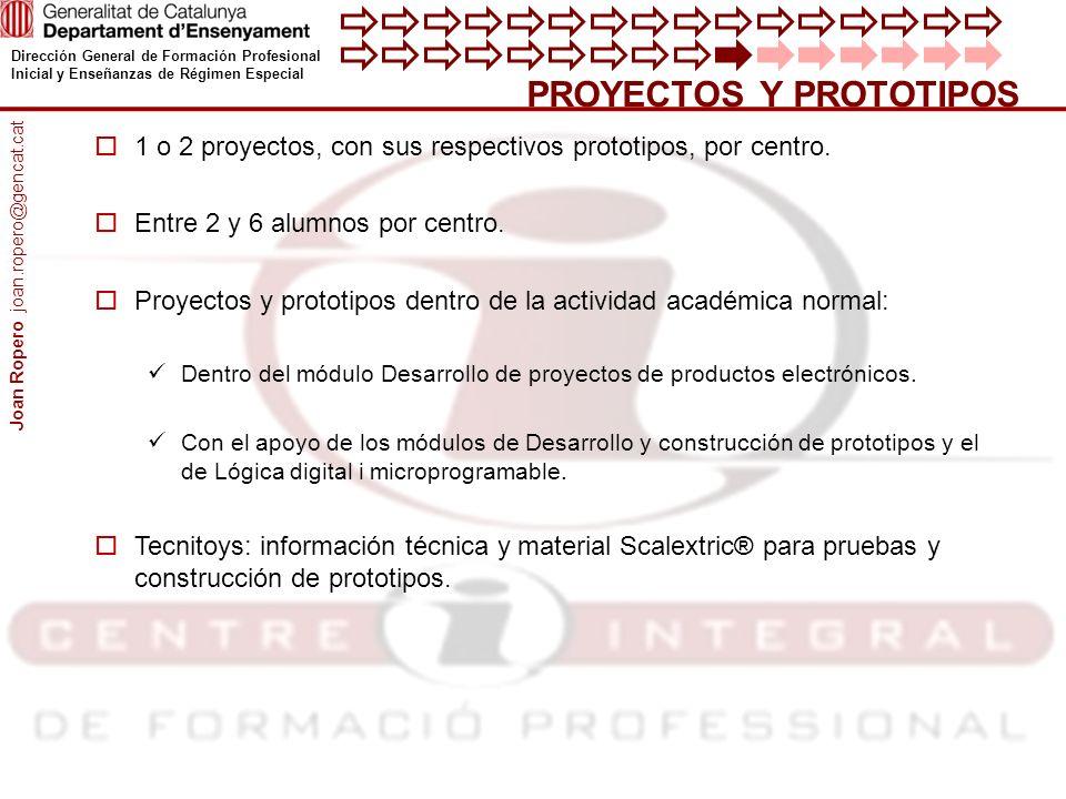 Dirección General de Formación Profesional Inicial y Enseñanzas de Régimen Especial PROYECTOS Y PROTOTIPOS 1 o 2 proyectos, con sus respectivos prototipos, por centro.