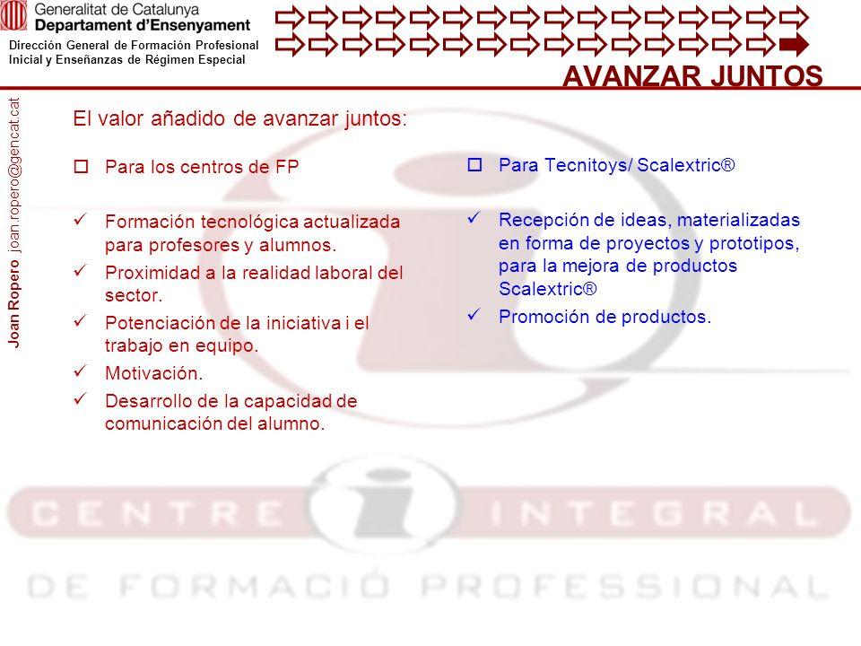 Dirección General de Formación Profesional Inicial y Enseñanzas de Régimen Especial AVANZAR JUNTOS Para los centros de FP Formación tecnológica actualizada para profesores y alumnos.