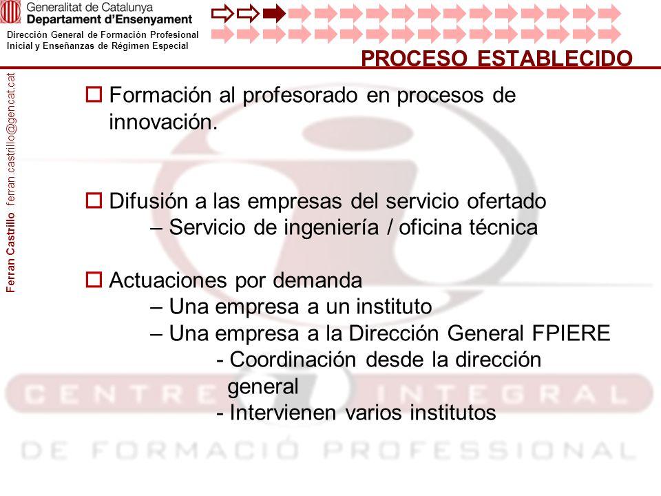 Dirección General de Formación Profesional Inicial y Enseñanzas de Régimen Especial PROCESO ESTABLECIDO Formación al profesorado en procesos de innova