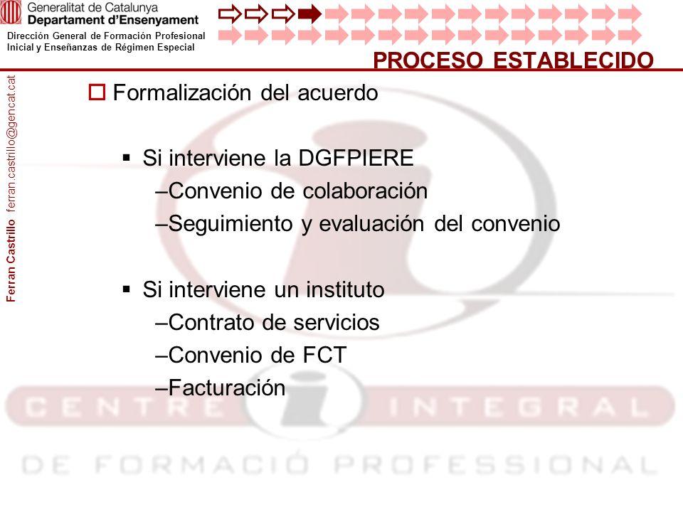 Dirección General de Formación Profesional Inicial y Enseñanzas de Régimen Especial Formalización del acuerdo Si interviene la DGFPIERE –Convenio de c