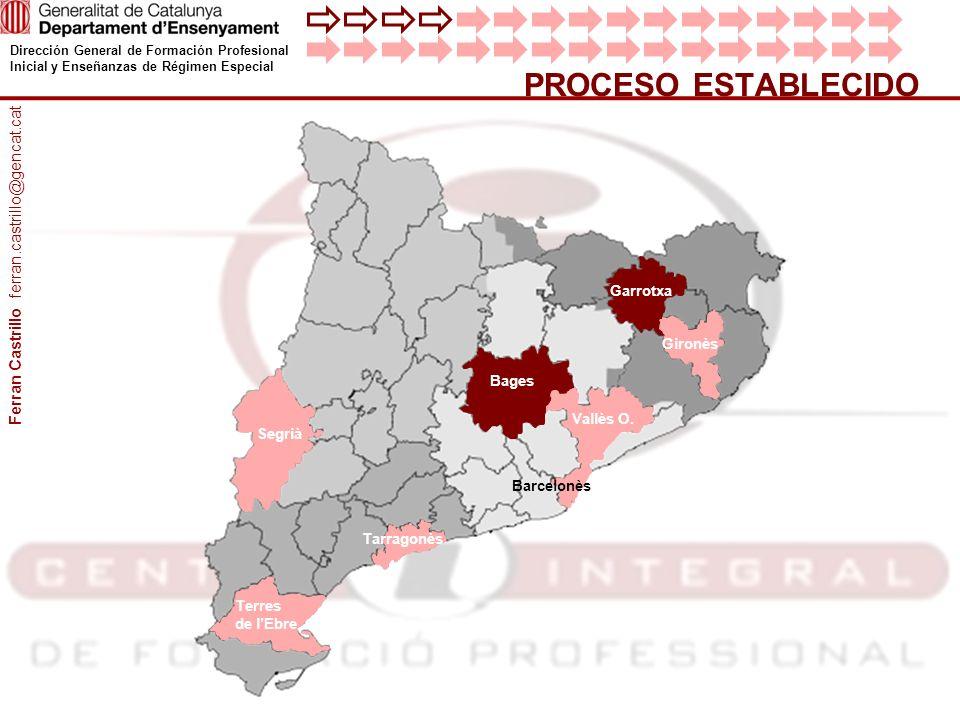 Dirección General de Formación Profesional Inicial y Enseñanzas de Régimen Especial PROCESO ESTABLECIDO Garrotxa Terres de lEbre Segrià Gironès Tarrag