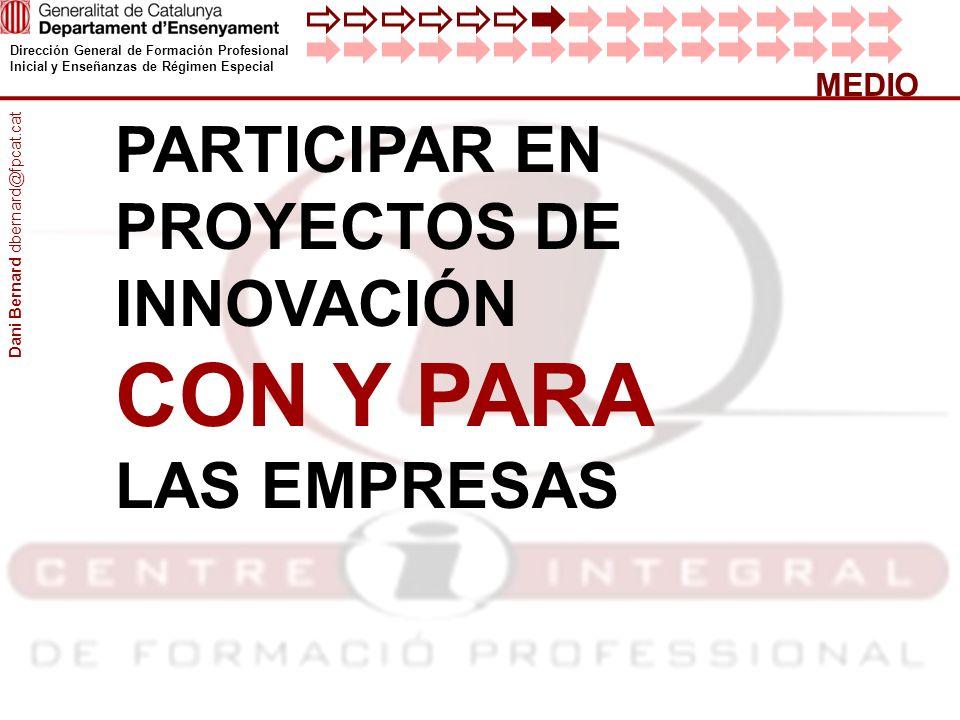 Dirección General de Formación Profesional Inicial y Enseñanzas de Régimen Especial MEDIO PARTICIPAR EN PROYECTOS DE INNOVACIÓN CON Y PARA LAS EMPRESA