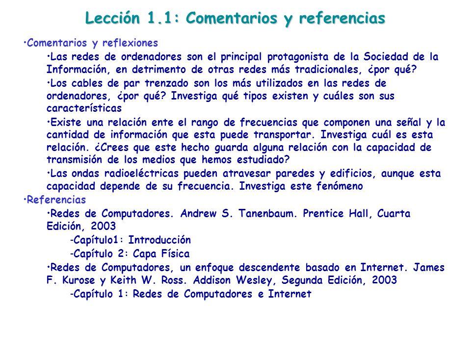 Lección 1.1: Comentarios y referencias Comentarios y reflexiones Las redes de ordenadores son el principal protagonista de la Sociedad de la Informaci