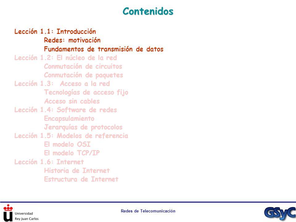 Redes de Telecomunicación Contenidos Lección 1.1: Introducción Redes: motivación Fundamentos de transmisión de datos Lección 1.2: El núcleo de la red
