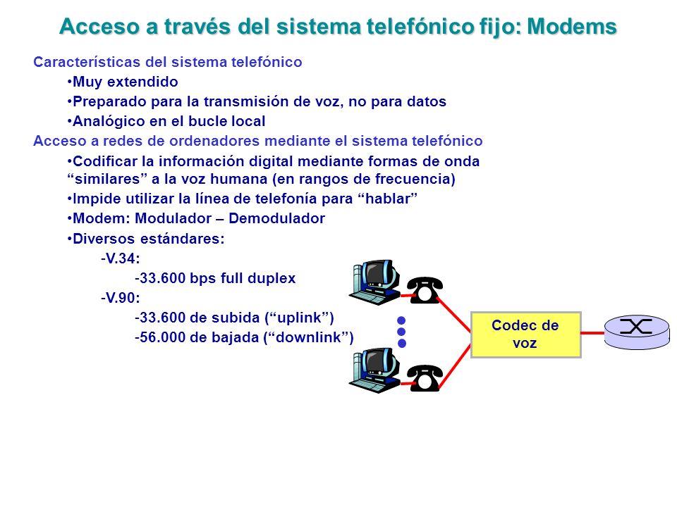 Acceso a través del sistema telefónico fijo: Modems Características del sistema telefónico Muy extendido Preparado para la transmisión de voz, no para