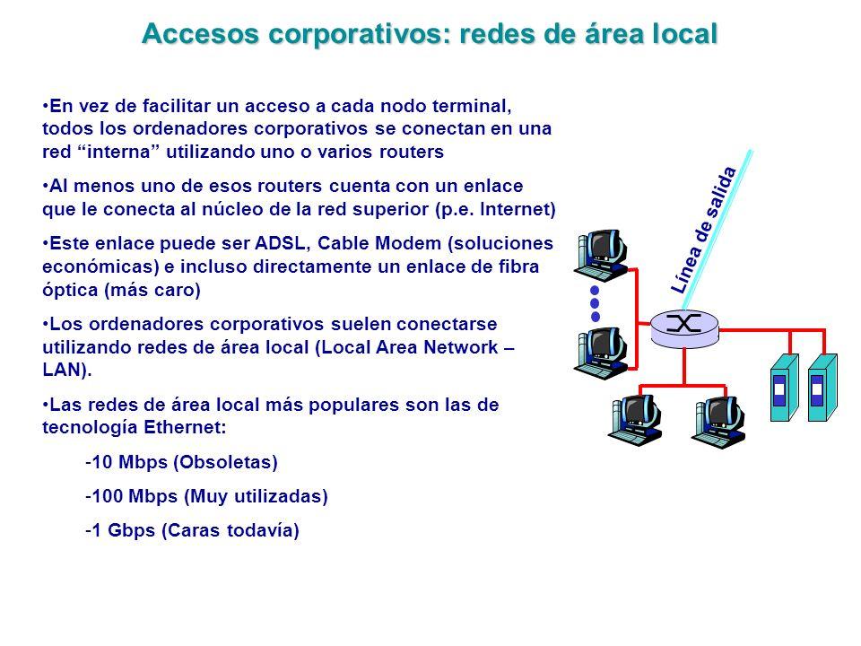 Accesos corporativos: redes de área local En vez de facilitar un acceso a cada nodo terminal, todos los ordenadores corporativos se conectan en una re