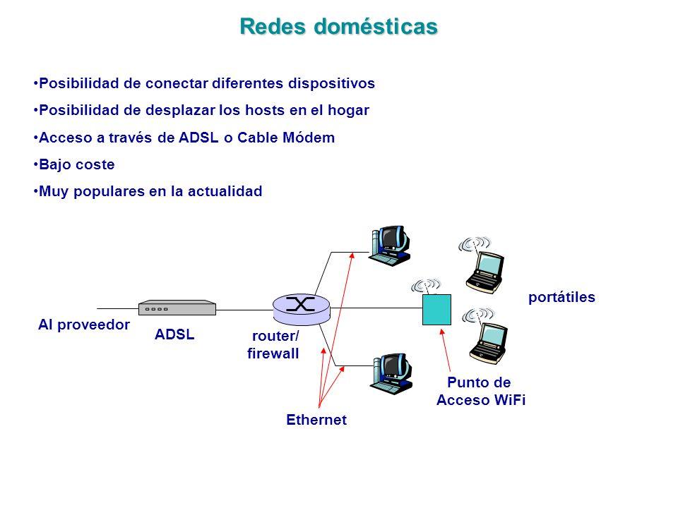 Redes domésticas Punto de Acceso WiFi portátiles router/ firewall ADSL Al proveedor Ethernet Posibilidad de conectar diferentes dispositivos Posibilid