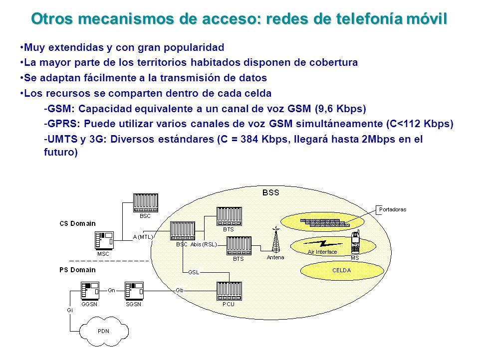 Otros mecanismos de acceso: redes de telefonía móvil Muy extendidas y con gran popularidad La mayor parte de los territorios habitados disponen de cob