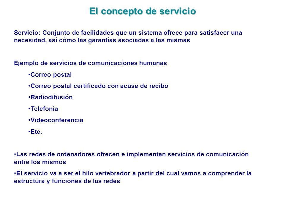 El concepto de servicio Servicio: Conjunto de facilidades que un sistema ofrece para satisfacer una necesidad, así cómo las garantías asociadas a las