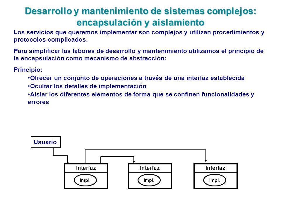 Desarrollo y mantenimiento de sistemas complejos: encapsulación y aislamiento Los servicios que queremos implementar son complejos y utilizan procedim