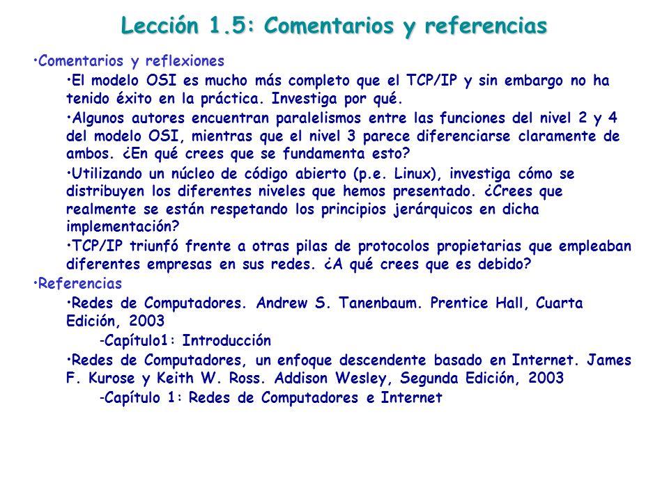 Lección 1.5: Comentarios y referencias Comentarios y reflexiones El modelo OSI es mucho más completo que el TCP/IP y sin embargo no ha tenido éxito en
