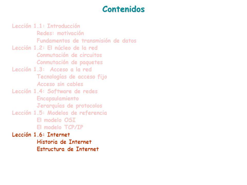 Contenidos Lección 1.1: Introducción Redes: motivación Fundamentos de transmisión de datos Lección 1.2: El núcleo de la red Conmutación de circuitos C