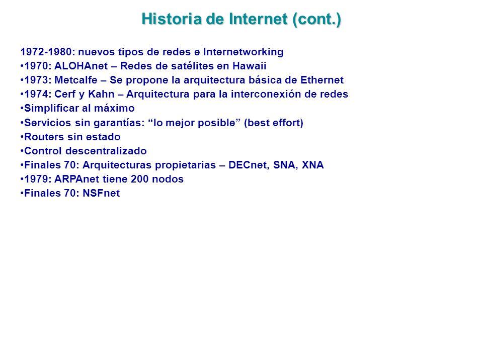 Historia de Internet (cont.) 1972-1980: nuevos tipos de redes e Internetworking 1970: ALOHAnet – Redes de satélites en Hawaii 1973: Metcalfe – Se prop