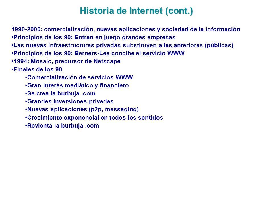 Historia de Internet (cont.) 1990-2000: comercialización, nuevas aplicaciones y sociedad de la información Principios de los 90: Entran en juego grand