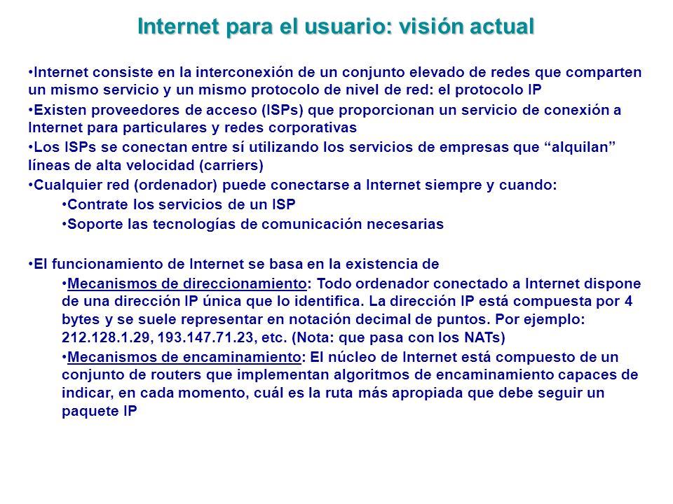 Internet para el usuario: visión actual Internet consiste en la interconexión de un conjunto elevado de redes que comparten un mismo servicio y un mis