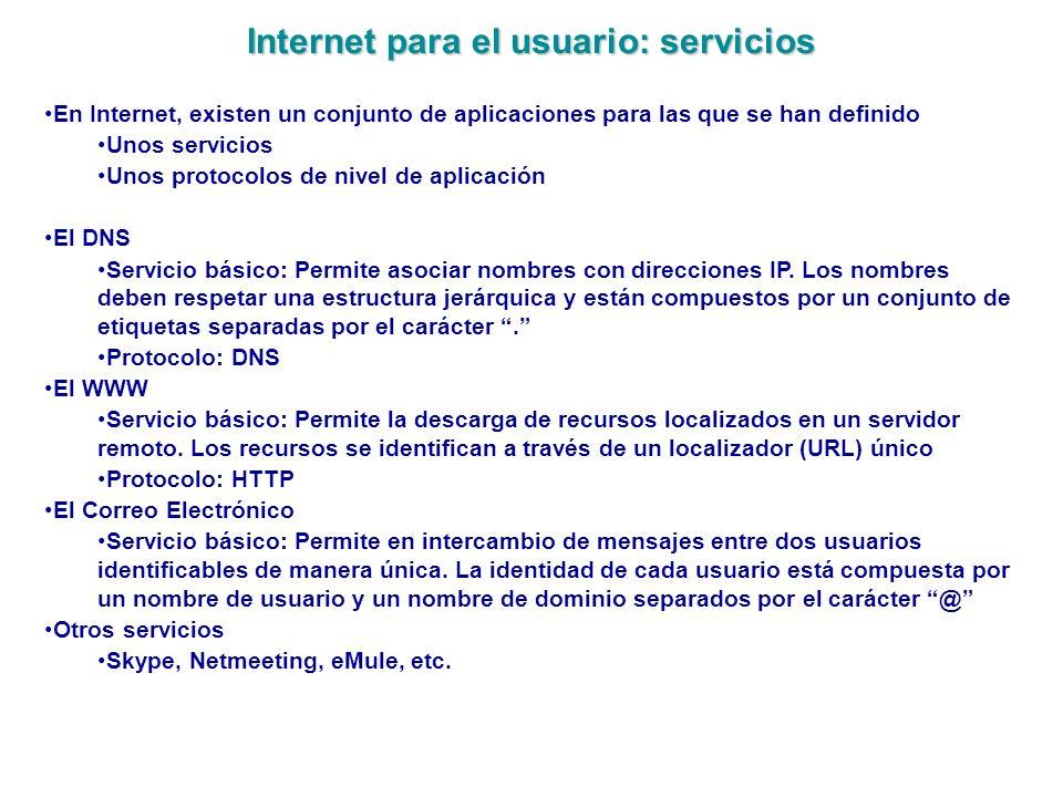 Internet para el usuario: servicios En Internet, existen un conjunto de aplicaciones para las que se han definido Unos servicios Unos protocolos de ni