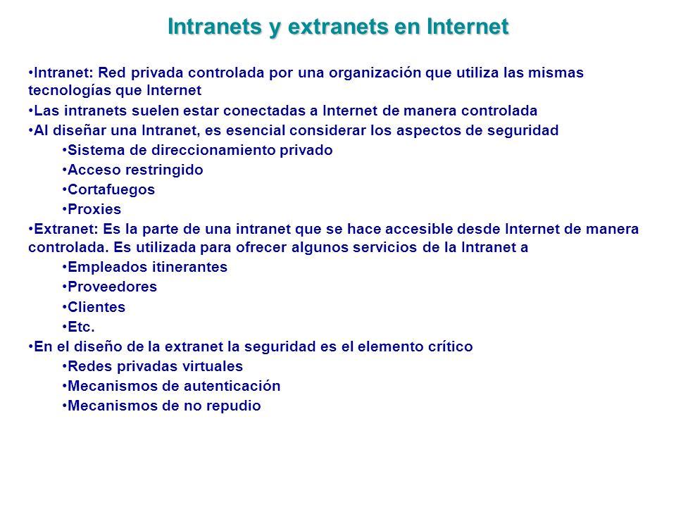 Intranets y extranets en Internet Intranet: Red privada controlada por una organización que utiliza las mismas tecnologías que Internet Las intranets