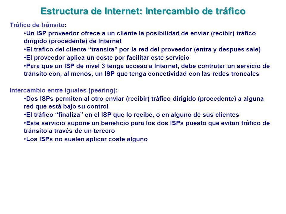 Estructura de Internet: Intercambio de tráfico Tráfico de tránsito: Un ISP proveedor ofrece a un cliente la posibilidad de enviar (recibir) tráfico di