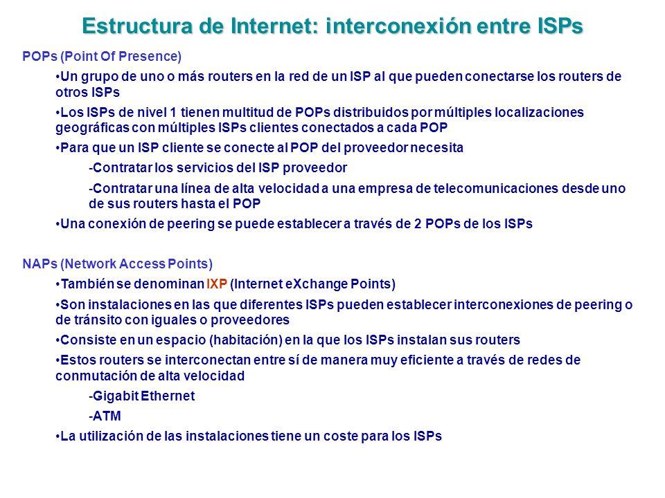 Estructura de Internet: interconexión entre ISPs POPs (Point Of Presence) Un grupo de uno o más routers en la red de un ISP al que pueden conectarse l
