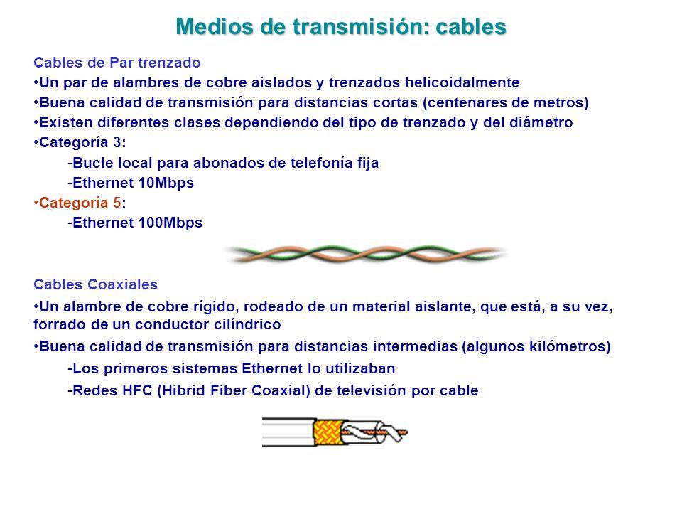 Medios de transmisión: cables Cables de Par trenzado Un par de alambres de cobre aislados y trenzados helicoidalmente Buena calidad de transmisión par
