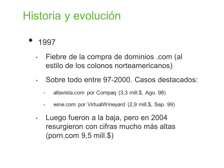Historia y evolución 1997 Fiebre de la compra de dominios.com (al estilo de los colonos norteamericanos) Sobre todo entre 97-2000. Casos destacados: a