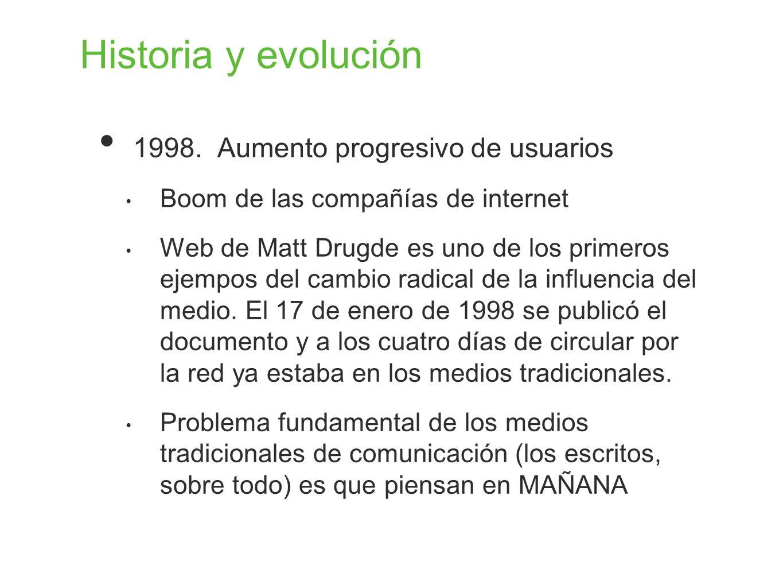 Historia y evolución 1998. Aumento progresivo de usuarios Boom de las compañías de internet Web de Matt Drugde es uno de los primeros ejempos del camb
