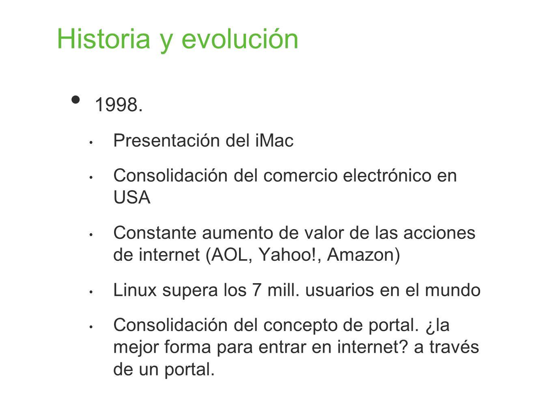 Historia y evolución 1998. Presentación del iMac Consolidación del comercio electrónico en USA Constante aumento de valor de las acciones de internet