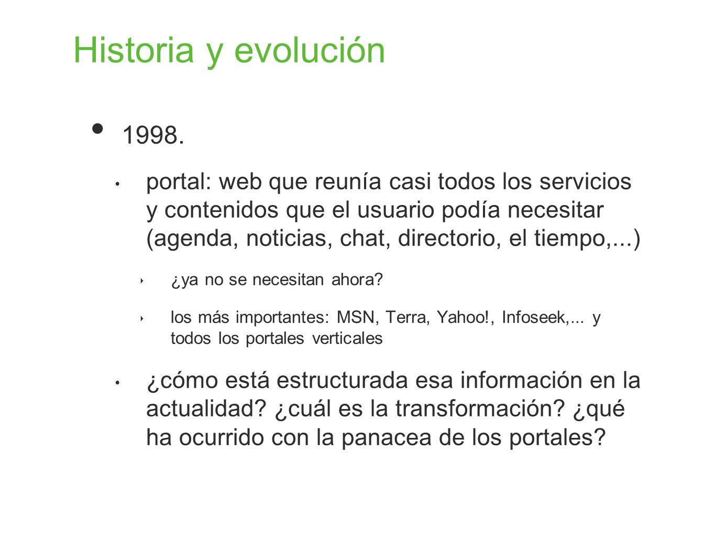 Historia y evolución 1998. portal: web que reunía casi todos los servicios y contenidos que el usuario podía necesitar (agenda, noticias, chat, direct