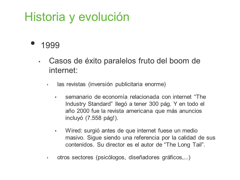 Historia y evolución 1999 Casos de éxito paralelos fruto del boom de internet: las revistas (inversión publicitaria enorme) semanario de economía rela