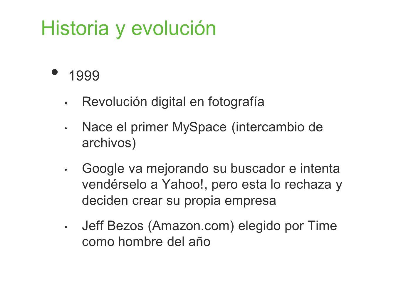 Historia y evolución 1999 Revolución digital en fotografía Nace el primer MySpace (intercambio de archivos) Google va mejorando su buscador e intenta