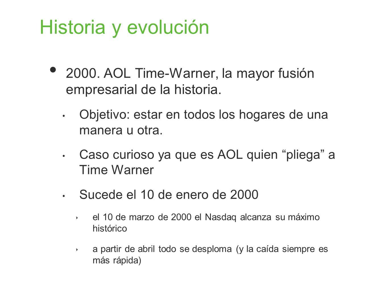 Historia y evolución 2000. AOL Time-Warner, la mayor fusión empresarial de la historia. Objetivo: estar en todos los hogares de una manera u otra. Cas