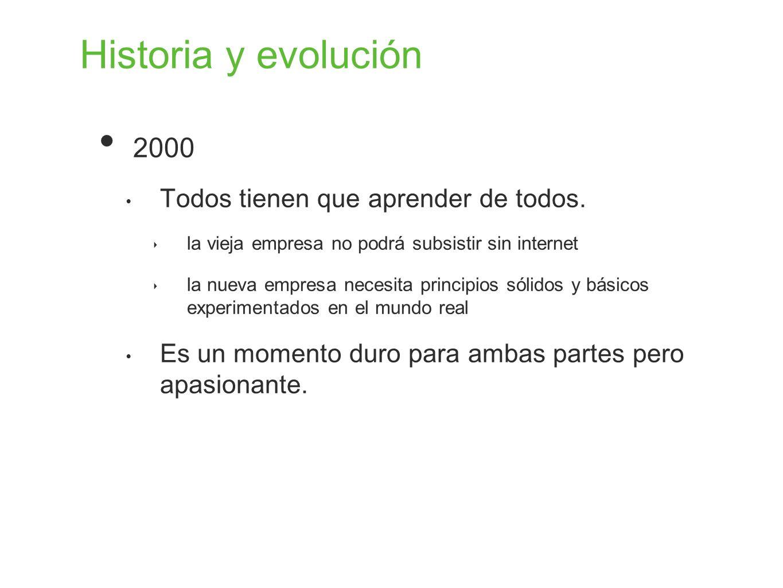 Historia y evolución 2000 Todos tienen que aprender de todos. la vieja empresa no podrá subsistir sin internet la nueva empresa necesita principios só