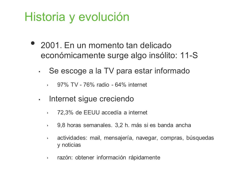 Historia y evolución 2001. En un momento tan delicado económicamente surge algo insólito: 11-S Se escoge a la TV para estar informado 97% TV - 76% rad
